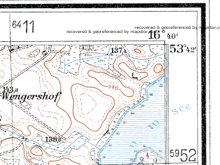 Reduced fragment of topographic map de--mb--025k--23_065--(1937)--N053-42_E016-30--N053-36_E016-40
