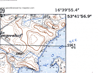 Reduced fragment of topographic map de--mb--025k--23_065-ams--(1952)--N053-42_E016-30--N053-36_E016-40