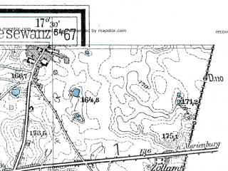 Reduced fragment of topographic map de--mb--025k--23_070--(1935)--N053-42_E017-20--N053-36_E017-30; towns and cities Czluchow