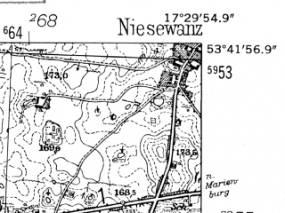 Reduced fragment of topographic map de--mb--025k--23_070-ams--(1952)--N053-42_E017-20--N053-36_E017-30; towns and cities Czluchow