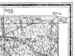 Reduced fragment of topographic map de--mb--025k--23_087--(1947)--N053-42_E020-10--N053-36_E020-20