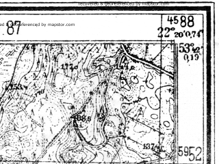 Reduced fragment of topographic map de--mb--025k--23_099--(1941)--N053-42_E022-10--N053-36_E022-20