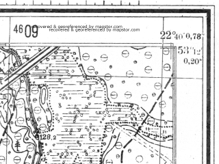 Reduced fragment of topographic map de--mb--025k--23_101--(1944)--N053-42_E022-30--N053-36_E022-40