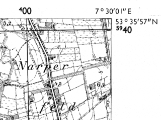 Reduced fragment of topographic map de--mb--025k--24_010-ams--(1955)--N053-36_E007-20--N053-30_E007-30