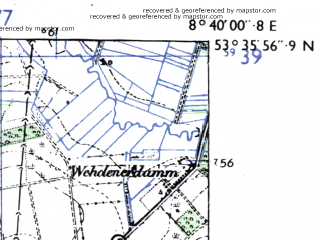 Reduced fragment of topographic map de--mb--025k--24_017-ams--(1955)--N053-36_E008-30--N053-30_E008-40; towns and cities Bremerhaven, Einswarden