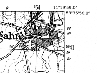 Reduced fragment of topographic map de--mb--025k--24_033-ams--(1952)--N053-36_E011-10--N053-30_E011-20