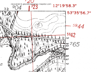 Reduced fragment of topographic map de--mb--025k--24_039-ams--(1952)--N053-36_E012-10--N053-30_E012-20 in area of Damerower See