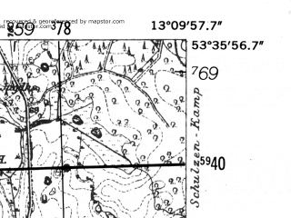 Reduced fragment of topographic map de--mb--025k--24_044-ams--(1952)--N053-36_E013-00--N053-30_E013-10