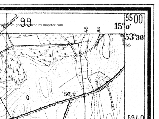 Reduced fragment of topographic map de--mb--025k--24_055--(1947)--N053-36_E014-50--N053-30_E015-00