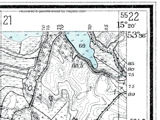 Reduced fragment of topographic map de--mb--025k--24_057--(1929)--N053-36_E015-10--N053-30_E015-20; towns and cities Dobra