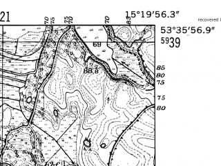 Reduced fragment of topographic map de--mb--025k--24_057-ams--(1952)--N053-36_E015-10--N053-30_E015-20; towns and cities Dobra