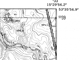 Reduced fragment of topographic map de--mb--025k--24_058-ams--(1952)--N053-36_E015-20--N053-30_E015-30