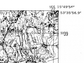 Reduced fragment of topographic map de--mb--025k--24_060-ams--(1952)--N053-36_E015-40--N053-30_E015-50; towns and cities Drawsko Pomorskie