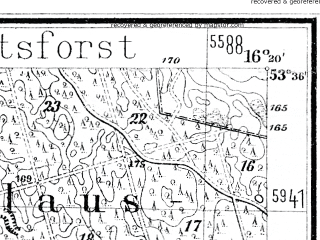 Reduced fragment of topographic map de--mb--025k--24_063--(1877)--N053-36_E016-10--N053-30_E016-20; towns and cities Czaplinek