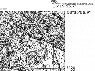 Reduced fragment of topographic map de--mb--025k--24_063-ams--(1952)--N053-36_E016-10--N053-30_E016-20; towns and cities Czaplinek