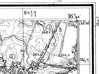 Reduced fragment of topographic map de--mb--025k--24_065--(1934)--N053-36_E016-30--N053-30_E016-40; towns and cities Sulinowo