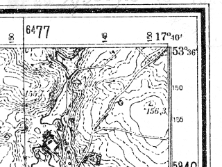 Reduced fragment of topographic map de--mb--025k--24_071--(1942)--N053-36_E017-30--N053-30_E017-40