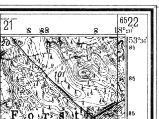 Reduced fragment of topographic map de--mb--025k--24_075--(1940)--N053-36_E018-10--N053-30_E018-20