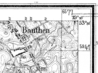 Reduced fragment of topographic map de--mb--025k--24_080--(1938)--N053-36_E019-00--N053-30_E019-10; towns and cities Lasin