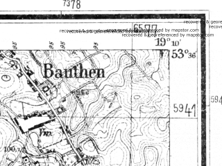 Reduced fragment of topographic map de--mb--025k--24_080--(1940)--N053-36_E019-00--N053-30_E019-10; towns and cities Lasin