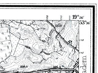 Reduced fragment of topographic map de--mb--025k--24_082--(1926)--N053-36_E019-20--N053-30_E019-30