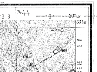 Reduced fragment of topographic map de--mb--025k--24_086--(1929)--N053-36_E020-00--N053-30_E020-10