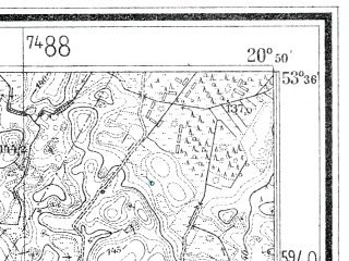 Reduced fragment of topographic map de--mb--025k--24_090--(1938)--N053-36_E020-40--N053-30_E020-50