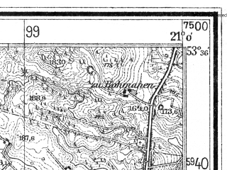 Reduced fragment of topographic map de--mb--025k--24_091--(1938)--N053-36_E020-50--N053-30_E021-00; towns and cities Szczytno