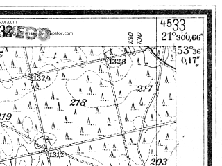 Reduced fragment of topographic map de--mb--025k--24_094--(1944)--N053-36_E021-20--N053-30_E021-30