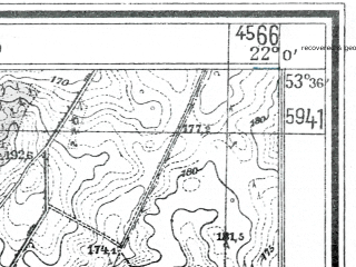 Reduced fragment of topographic map de--mb--025k--24_097--(1944)--N053-36_E021-50--N053-30_E022-00