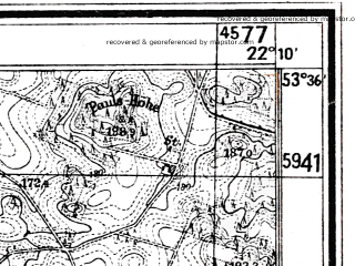 Reduced fragment of topographic map de--mb--025k--24_098--(1944)--N053-36_E022-00--N053-30_E022-10
