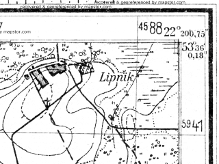 Reduced fragment of topographic map de--mb--025k--24_099--(1944)--N053-36_E022-10--N053-30_E022-20; towns and cities Szczuczyn