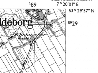 Reduced fragment of topographic map de--mb--025k--25_009-ams--(1955)--N053-30_E007-10--N053-24_E007-20 in area of Ewiges Meer