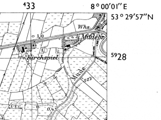 Reduced fragment of topographic map de--mb--025k--25_013-ams--(1955)--N053-30_E007-50--N053-24_E008-00; towns and cities Wiesede