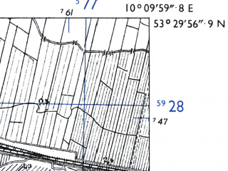 Reduced fragment of topographic map de--mb--025k--25_026-ams--(1955)--N053-30_E010-00--N053-24_E010-10