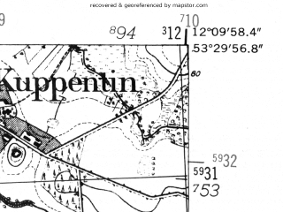 Reduced fragment of topographic map de--mb--025k--25_038-ams--(1952)--N053-30_E012-00--N053-24_E012-10