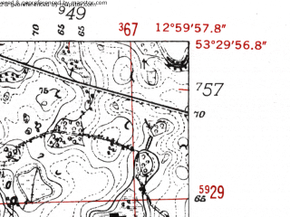 Reduced fragment of topographic map de--mb--025k--25_043-ams--(1952)--N053-30_E012-50--N053-24_E013-00