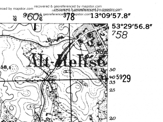 Reduced fragment of topographic map de--mb--025k--25_044-ams--(1952)--N053-30_E013-00--N053-24_E013-10