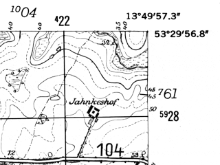 Reduced fragment of topographic map de--mb--025k--25_048-ams--(1952)--N053-30_E013-40--N053-24_E013-50
