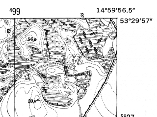 Reduced fragment of topographic map de--mb--025k--25_055-ams--(1952)--N053-30_E014-50--N053-24_E015-00