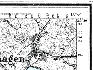 Reduced fragment of topographic map de--mb--025k--25_058--(1929)--N053-30_E015-20--N053-24_E015-30