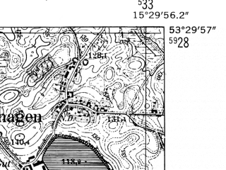 Reduced fragment of topographic map de--mb--025k--25_058-ams--(1952)--N053-30_E015-20--N053-24_E015-30