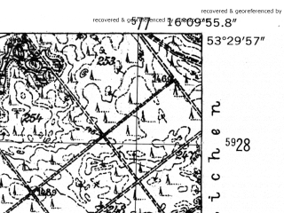 Reduced fragment of topographic map de--mb--025k--25_062-ams--(1952)--N053-30_E016-00--N053-24_E016-10