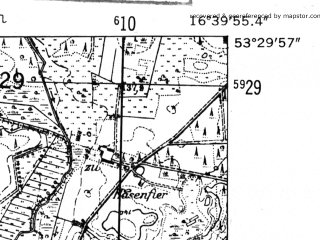 Reduced fragment of topographic map de--mb--025k--25_065-ams--(1952)--N053-30_E016-30--N053-24_E016-40; towns and cities Sypniewo