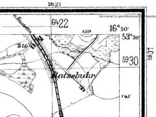 Reduced fragment of topographic map de--mb--025k--25_066--(1929)--N053-30_E016-40--N053-24_E016-50; towns and cities Jastrowie