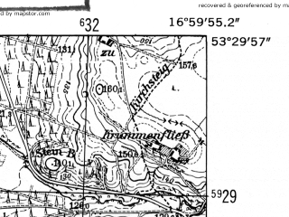 Reduced fragment of topographic map de--mb--025k--25_067-ams--(1952)--N053-30_E016-50--N053-24_E017-00