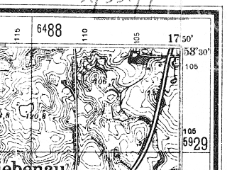 Reduced fragment of topographic map de--mb--025k--25_072--(1942)--N053-30_E017-40--N053-24_E017-50