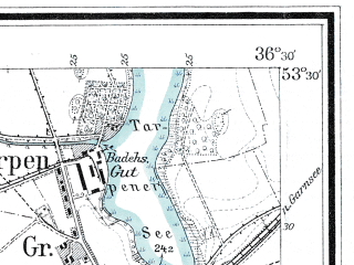 Reduced fragment of topographic map de--mb--025k--25_078--(1909)--N053-30_E018-40--N053-24_E018-50; towns and cities Grudziadz