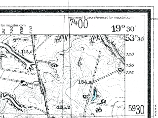 Reduced fragment of topographic map de--mb--025k--25_082--(1928)--N053-30_E019-20--N053-24_E019-30