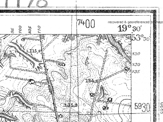 Reduced fragment of topographic map de--mb--025k--25_082--(1940)--N053-30_E019-20--N053-24_E019-30